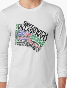 Typographic Greenwich Village Map, NYC Long Sleeve T-Shirt