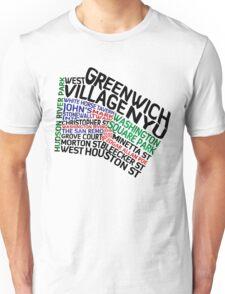 Typographic Greenwich Village Map, NYC Unisex T-Shirt