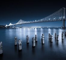 The Bay Bridge Moonlit by Raj Golawar