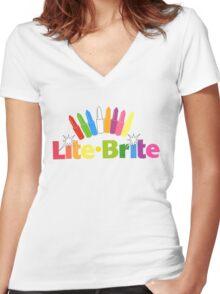 Lite Brite- Retro Toys Women's Fitted V-Neck T-Shirt