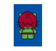 Hello Battle Kitty Art Print
