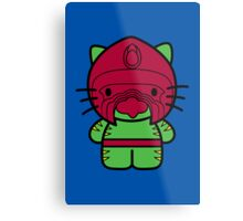 Hello Battle Kitty Metal Print