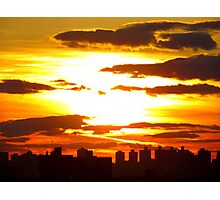 Sun sets in New York City  Photographic Print
