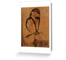 Pyrography: Glasswing Butterfly Greeting Card