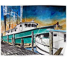 shrimp boat marine nautical art print Poster