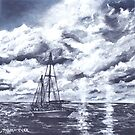 sail boat oil painting art print by derekmccrea