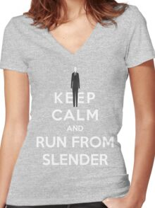 Keep Calm And Run From Slender Women's Fitted V-Neck T-Shirt
