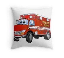 Fire Rescue Truck Cartoon Throw Pillow