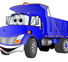 Blue Cartoon Dump Truck by Graphxpro
