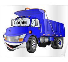 Blue Cartoon Dump Truck Poster