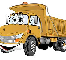 Gold Cartoon Dump Truck by Graphxpro
