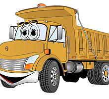 Gold Cartoon Dump Truck by Graphxpro