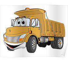 Gold Cartoon Dump Truck Poster