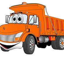 Orange Cartoon Dump Truck by Graphxpro