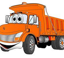 Orange Cartoon Dump Truck by Graphxpro
