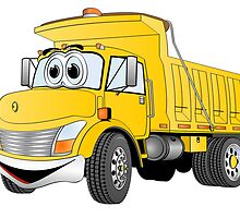 Yellow Cartoon Dump Truck by Graphxpro