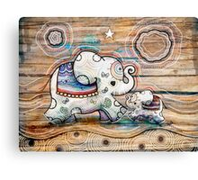 Lucky Star Elephants Canvas Print