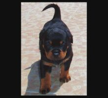 Cute Rottweiler Puppy Walking Towards The Camera Kids Tee