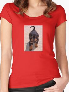 Cute Rottweiler Puppy Walking Towards The Camera Women's Fitted Scoop T-Shirt