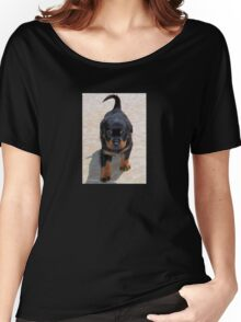 Cute Rottweiler Puppy Walking Towards The Camera Women's Relaxed Fit T-Shirt