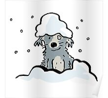 dog in the snow Poster