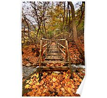 Wooden bridge to the heart of autumn Poster