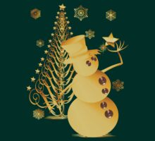 Gold Christmas Snowman and Star Tree by Lotacats