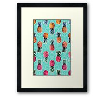 From Pineapple to Pink - tropical doodle pattern on mint Framed Print