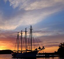 Autumn sunrise on a schooner at Bar Harbor by woodnimages