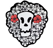 Red Floral Skull by francesrosey