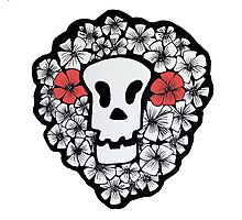Red Floral Skull Photographic Print