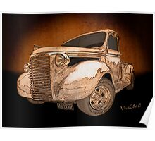 39 Chevy Pickup Drawing Poster
