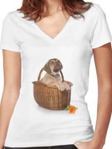 Funny brown puppy retriever Women's Fitted V-Neck T-Shirt