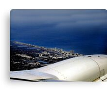 Watercolor - Flying Over Miami Canvas Print
