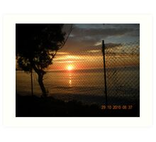 Another Sunset, caged in. Art Print