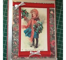 Vintage Greeting Card Art Holly Seller Photographic Print