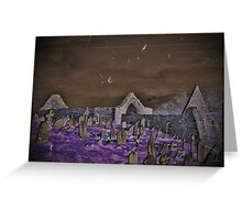 Ancient Cemetery in the Night Greeting Card