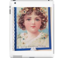 Angel in Blue Christmas Blessing Card iPad Case/Skin