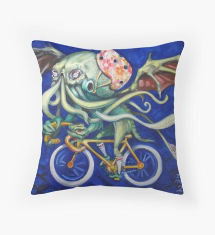 Cthulhu On A Bicycle Throw Pillow