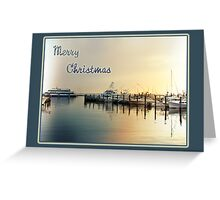 Christmas Greeting Card - Boats At Sunrise In Harbor Greeting Card
