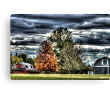 HDR - Three Trees and Two Barns Canvas Print