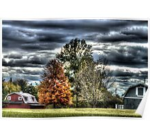 HDR - Three Trees and Two Barns Poster