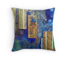 Gold columns sinking into oceanic Blue Throw Pillow