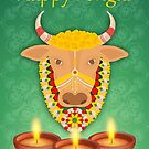 Happy Pongal, with cow and candles, on a green background by Moonlake