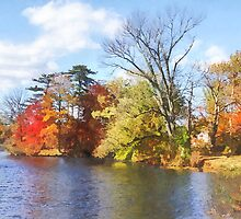 House by Lake in Autumn by Susan Savad