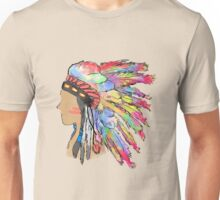 Native American Head Dress Colour Run Unisex T-Shirt