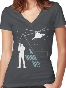 Metal Gear Solid - 'A Hind D!?' Mk.2 Women's Fitted V-Neck T-Shirt