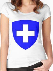 Switzerland BLUE | Europe Heraldry | SteezeFactory.com Women's Fitted Scoop T-Shirt