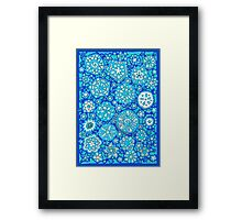Snowflake Wishes (on Blue) Framed Print