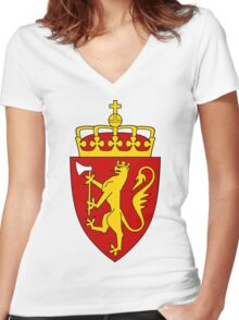 Norway GOLD | Europe Stickers | SteezeFactory.com Women's Fitted V-Neck T-Shirt